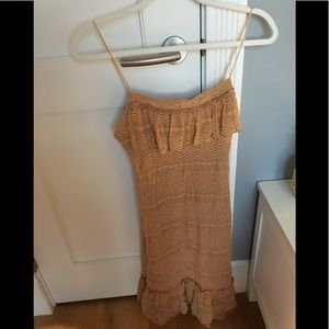 Wet Seal stretch lace tan ruffle dress